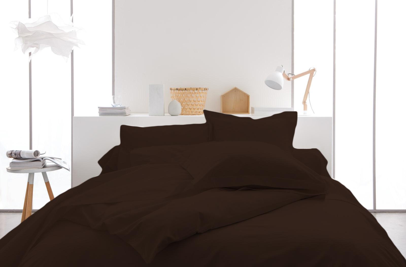 Housse de couette 100% coton 240x220 marron
