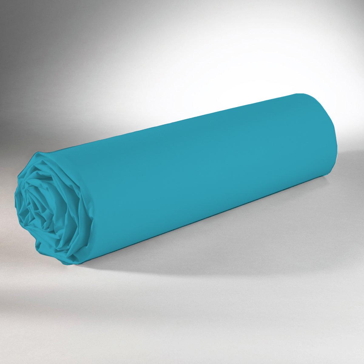 Drap housse 100% coton 160x200+25 bleu