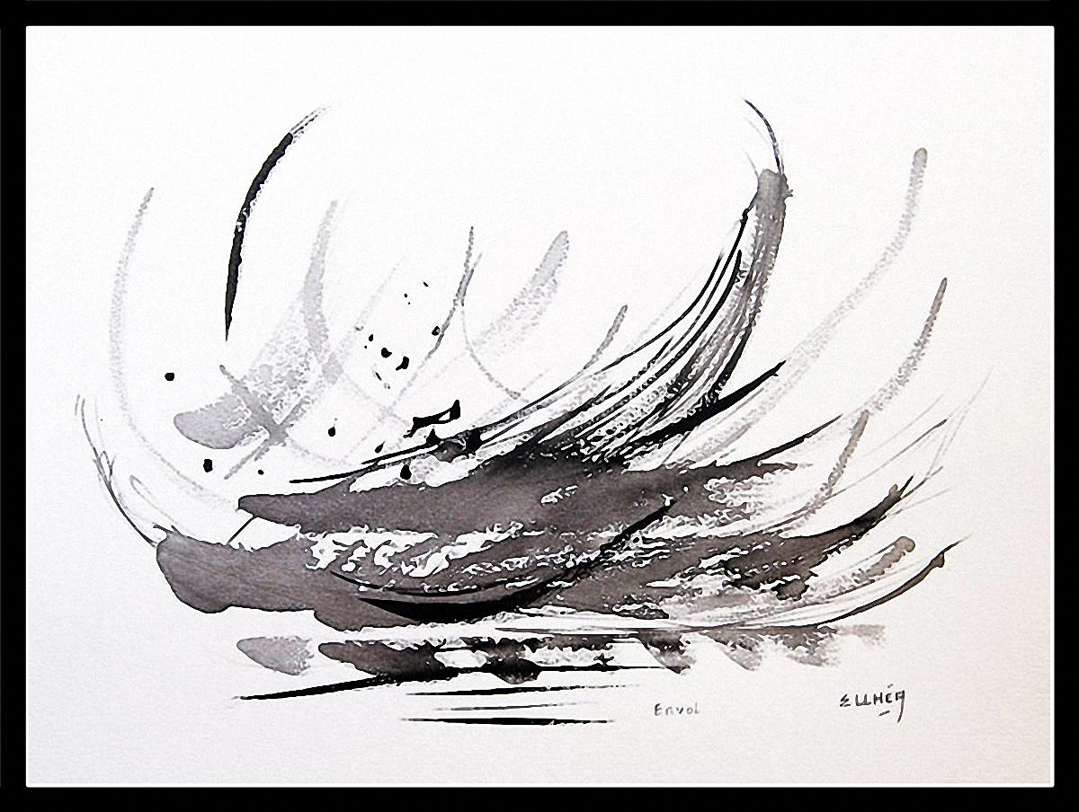 Tableau noir et blanc Envol