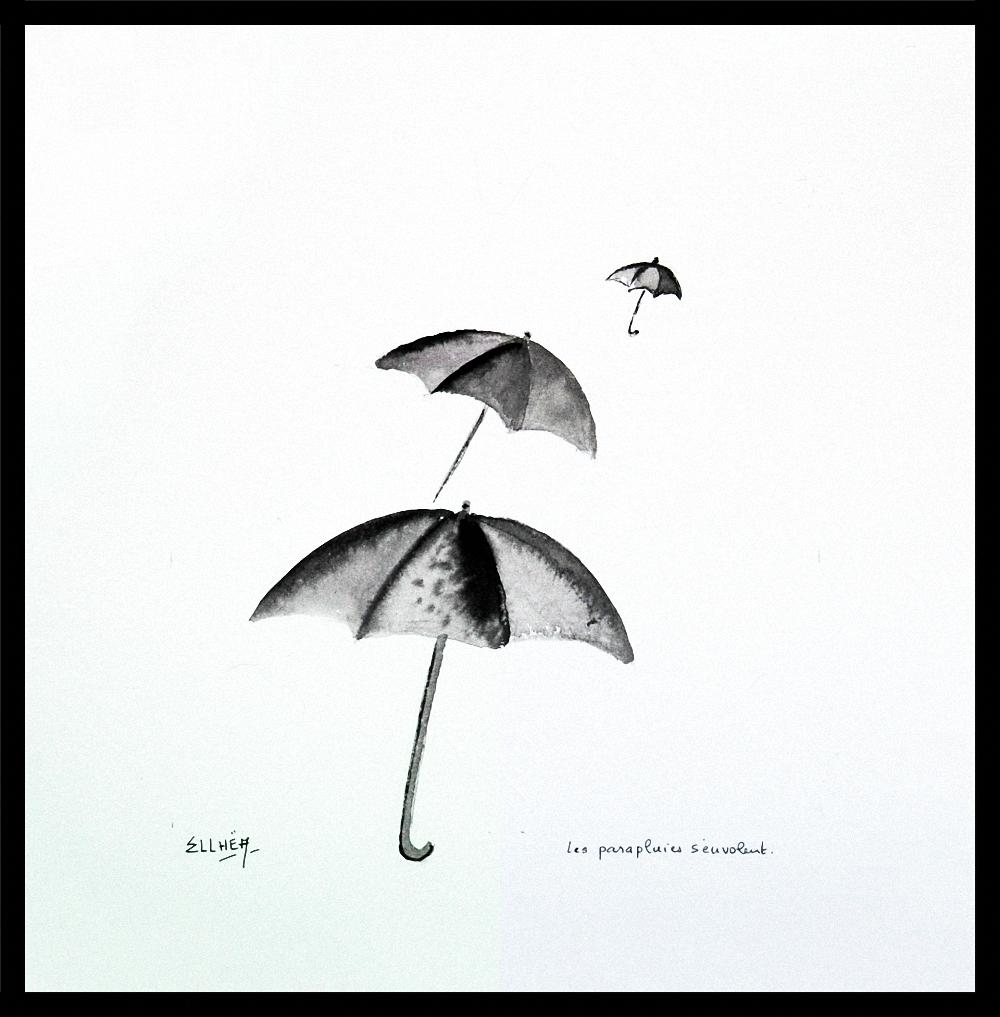 Les parapluies s\'envolent - dessin encre de chine
