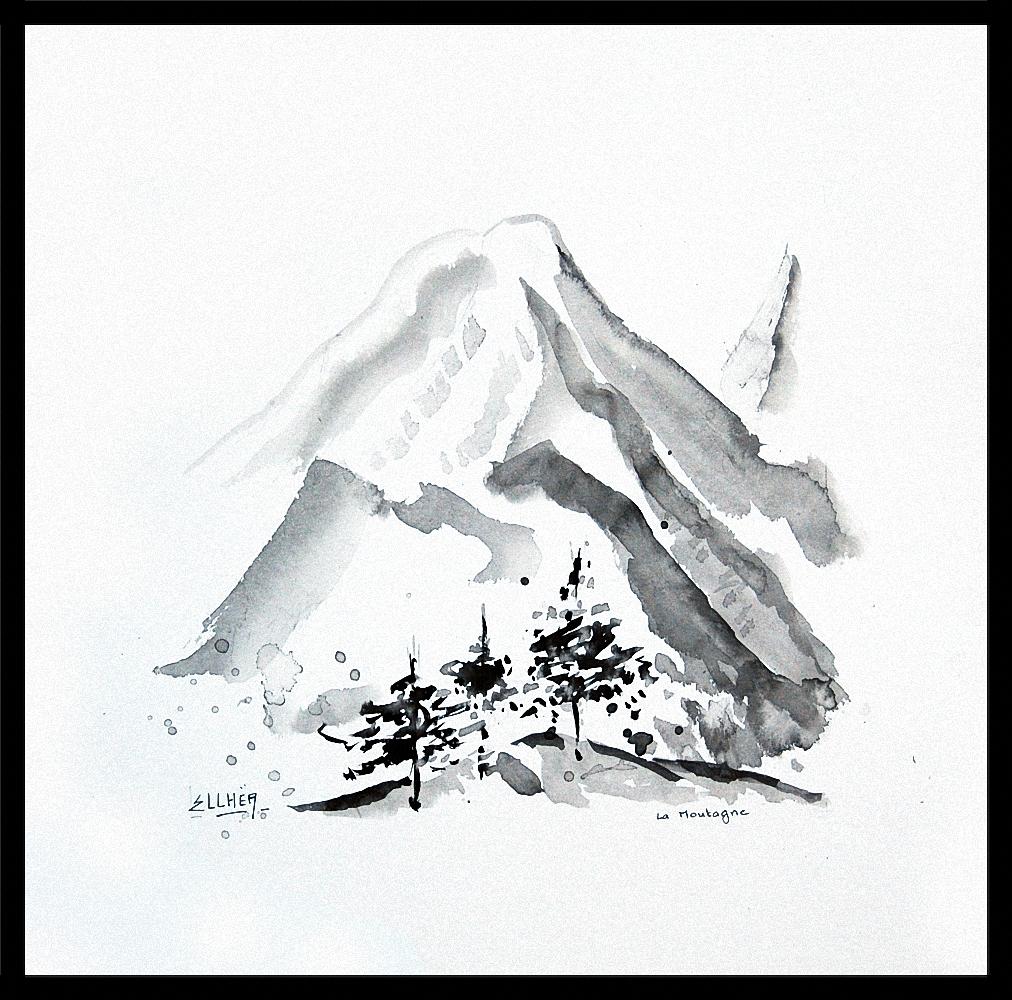 La Montagne - peinture zen encre noire