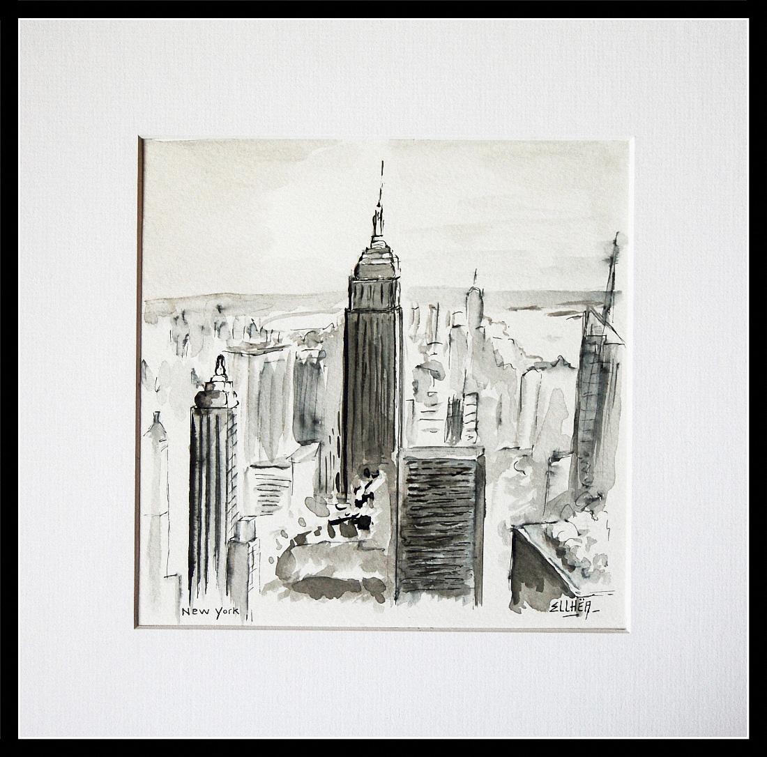 New-York peinture encre de chine