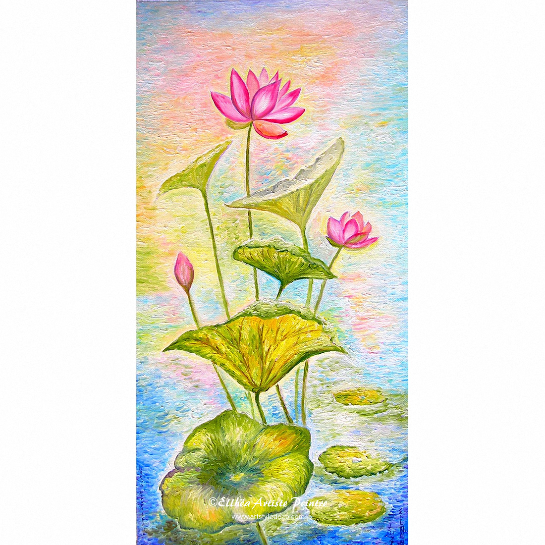 Les Lotus Roses - toile reproduction peinture zen
