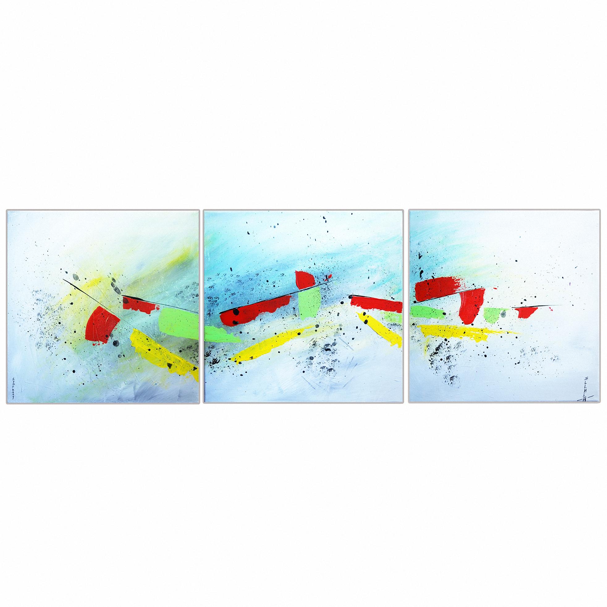 Peinture abstraite gris noir rouge vert Symphony
