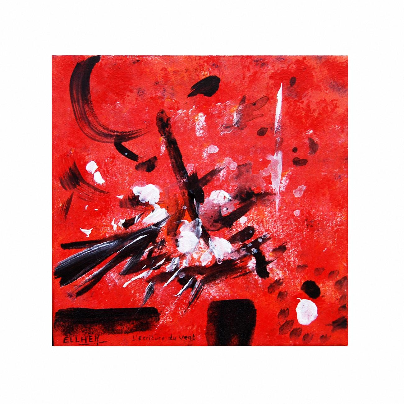 Toile abstraite rouge et noire Ecriture