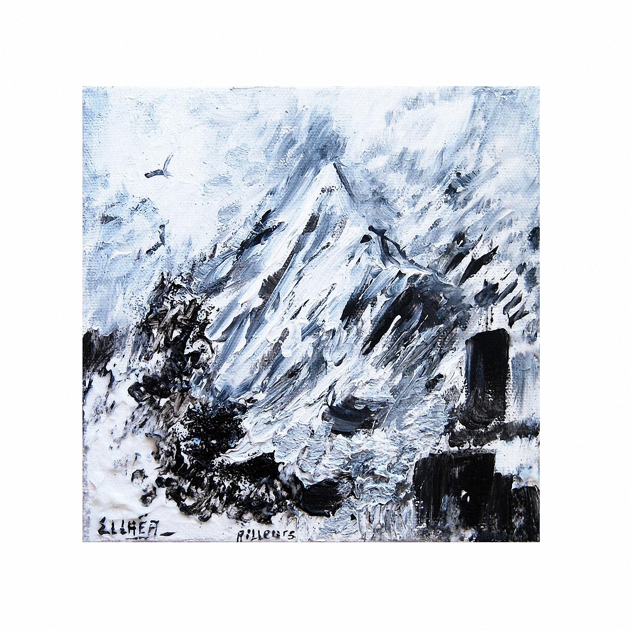 Toile abstraite noir et blanc Ailleurs