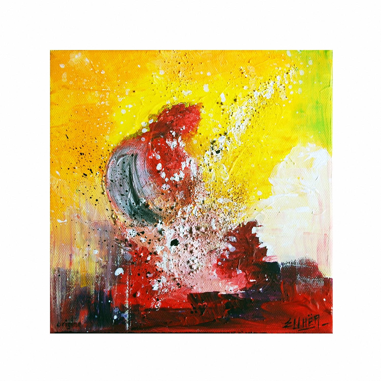 Peinture abstraite rouge et jaune Origine