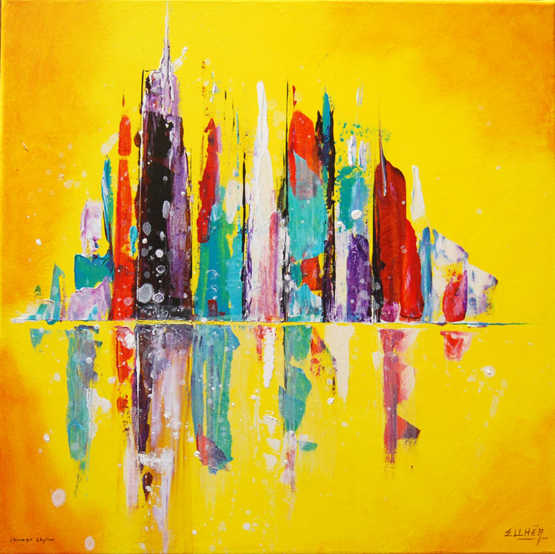 Chicago Skyline - tableau abstrait ville