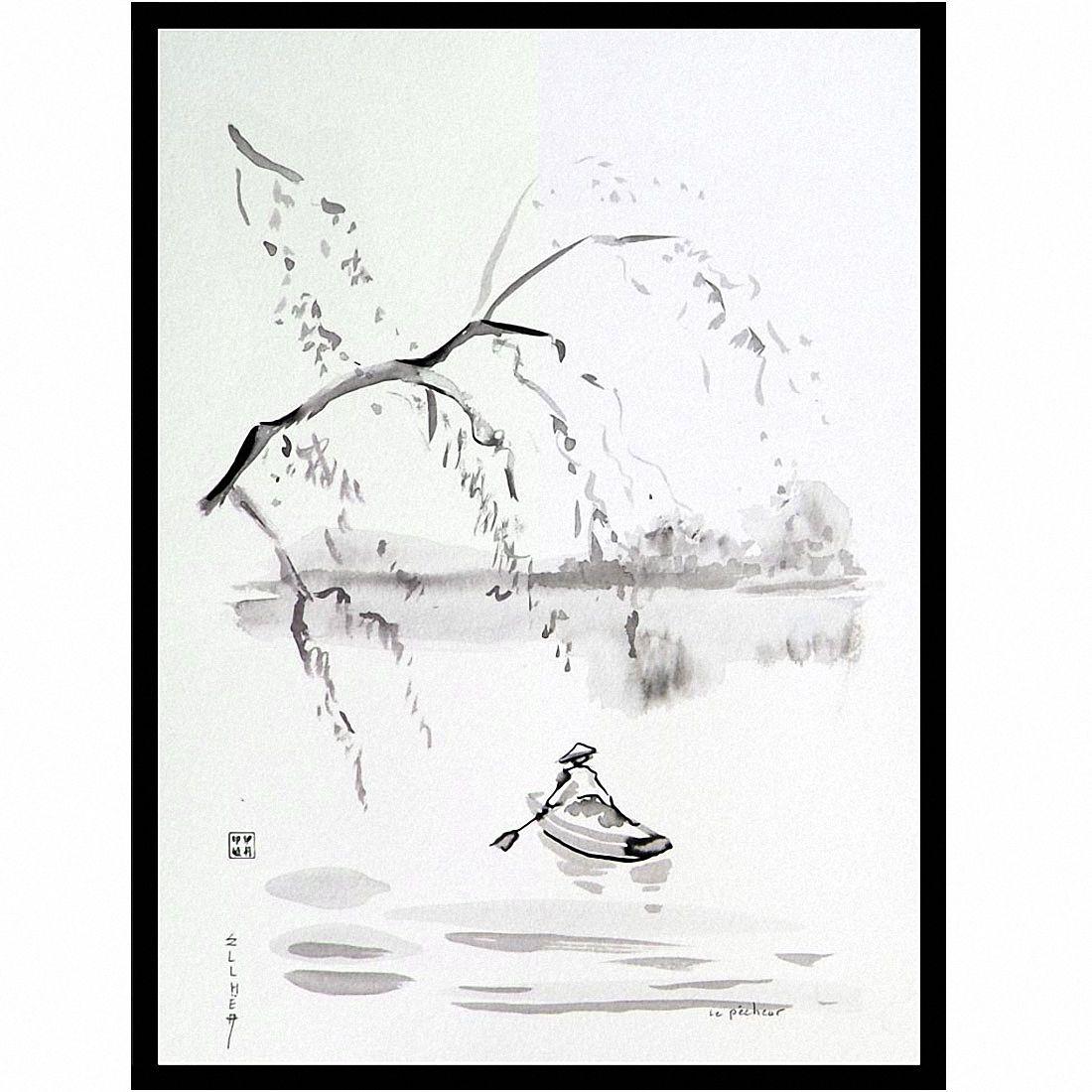 Encre zen Le Pêcheur