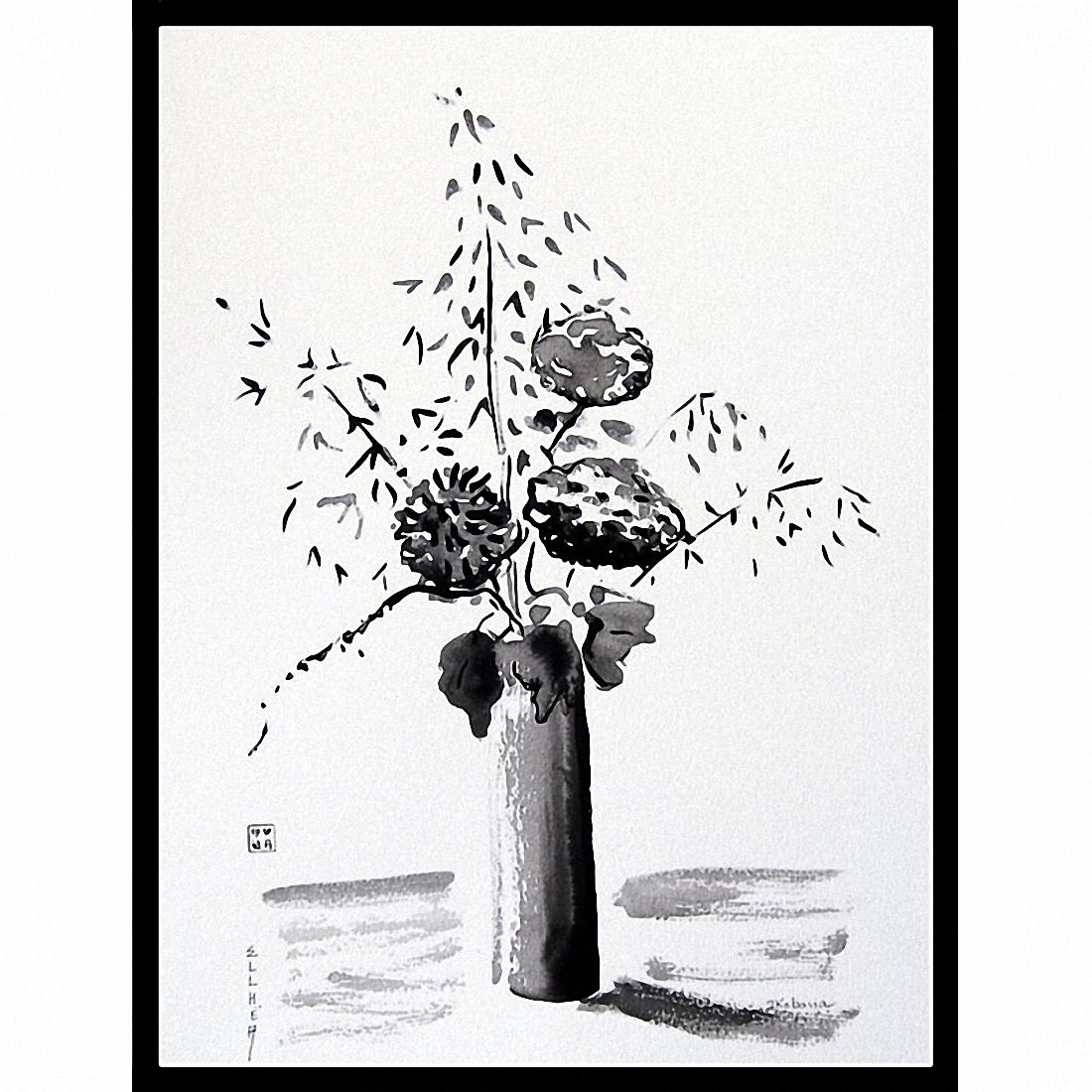 Ikebana tableau noir et blanc