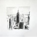 cadre-ville-new-york-dessin-encre-noir-oeuvre-unique-peintre-ellhea-galerie-art-style-deco