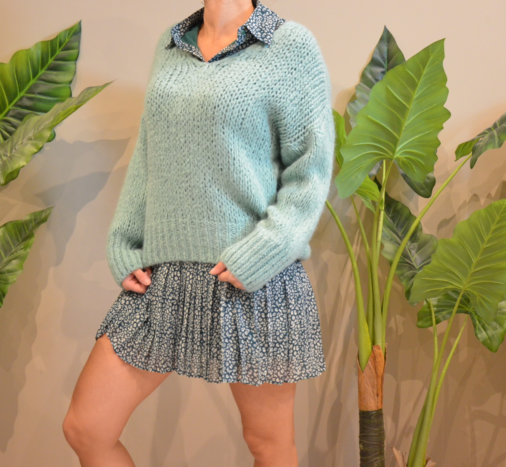 Le pull Charly  vert d\'eau