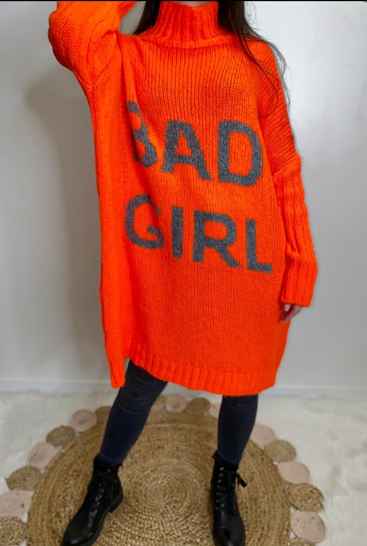 Le pull robe  Bad girl  orange