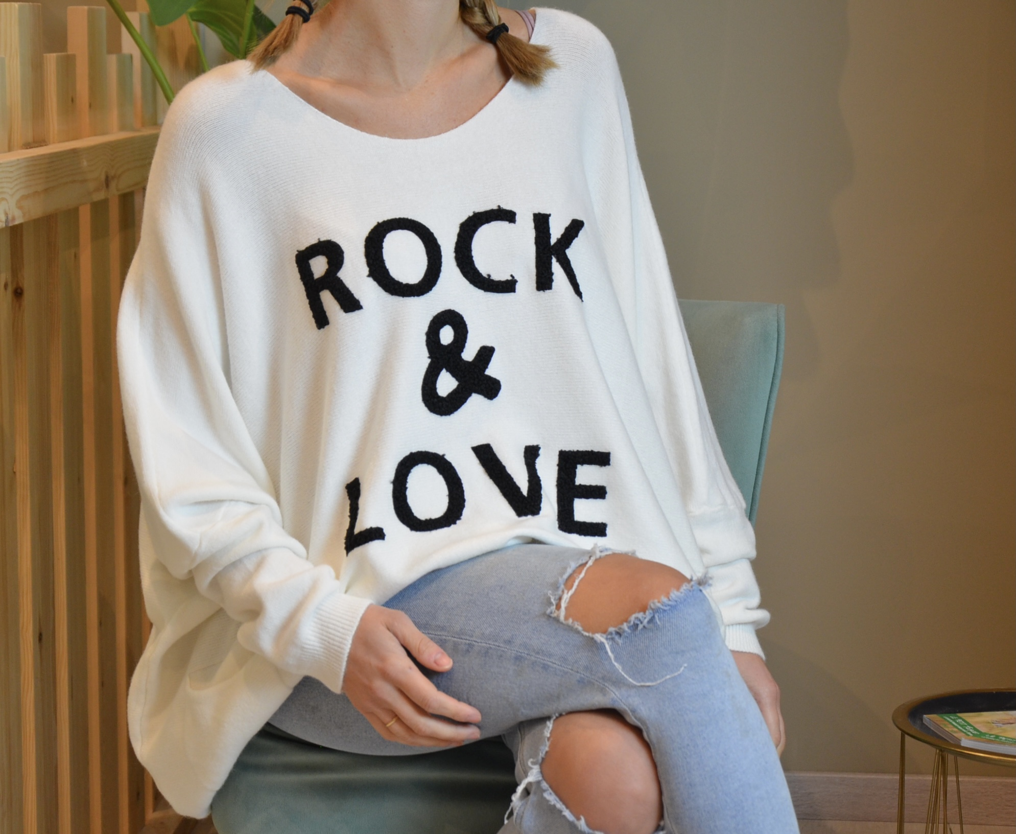 Le pull « Paolo» blanc Rock and Love