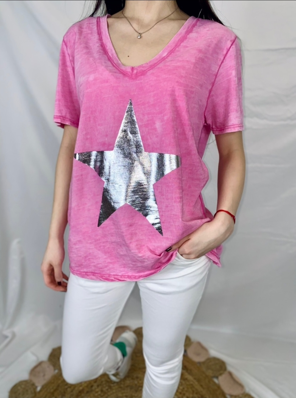 Le tee-shirt  Agate  rose fushia