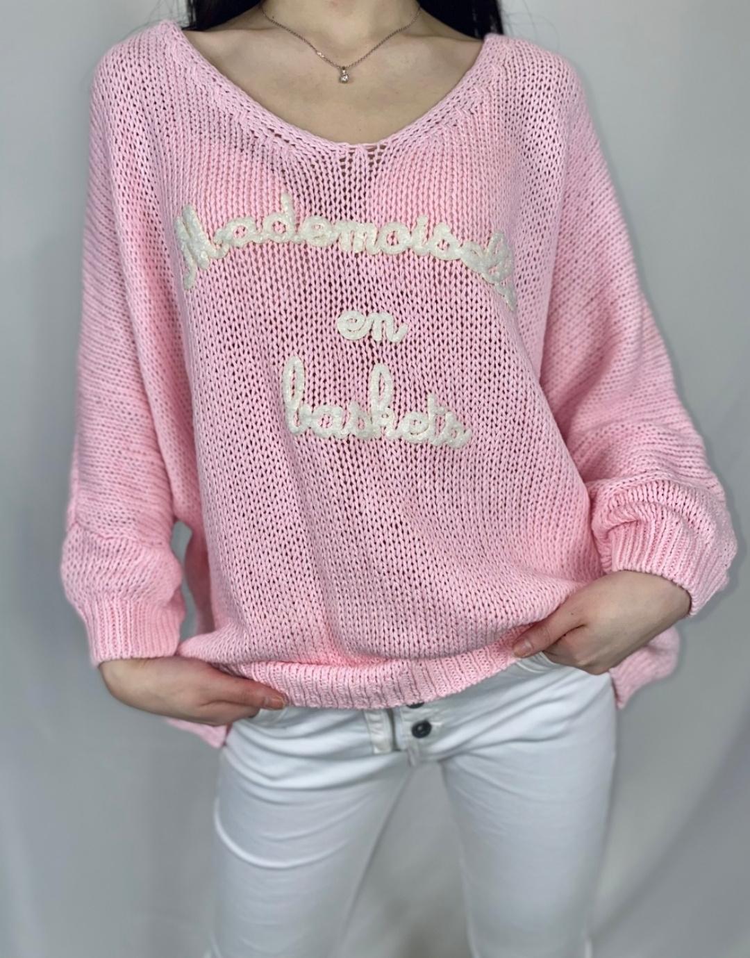 Le pull «Mady» Mademoiselle en baskets rose