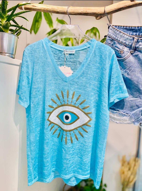Le tee-shirt  Eye  bleu turquoise
