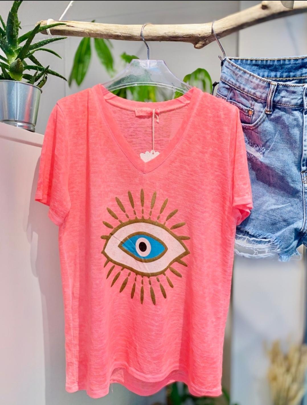 Le tee-shirt  Eye  corail