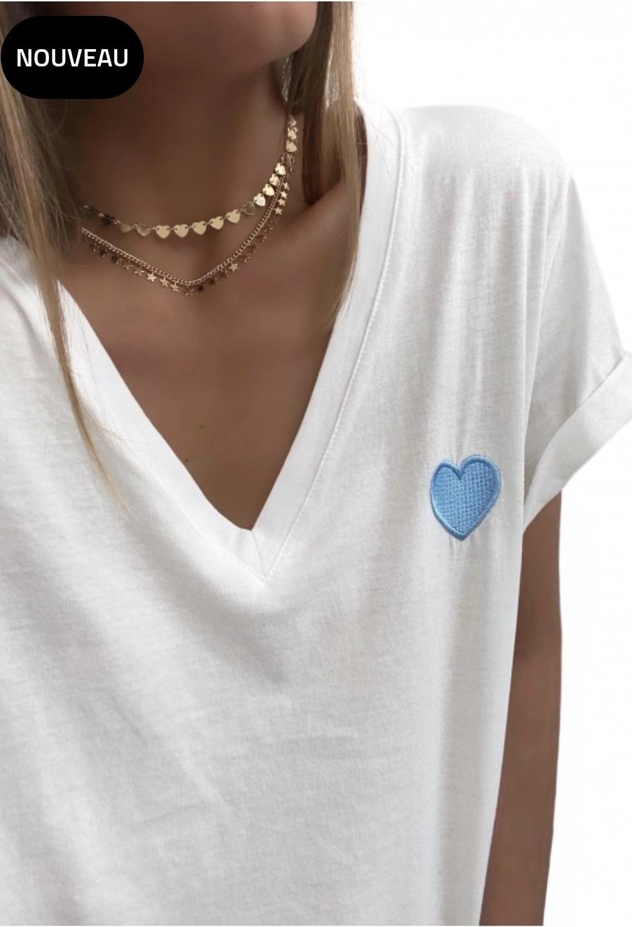 Tee-shirt cœur bleu