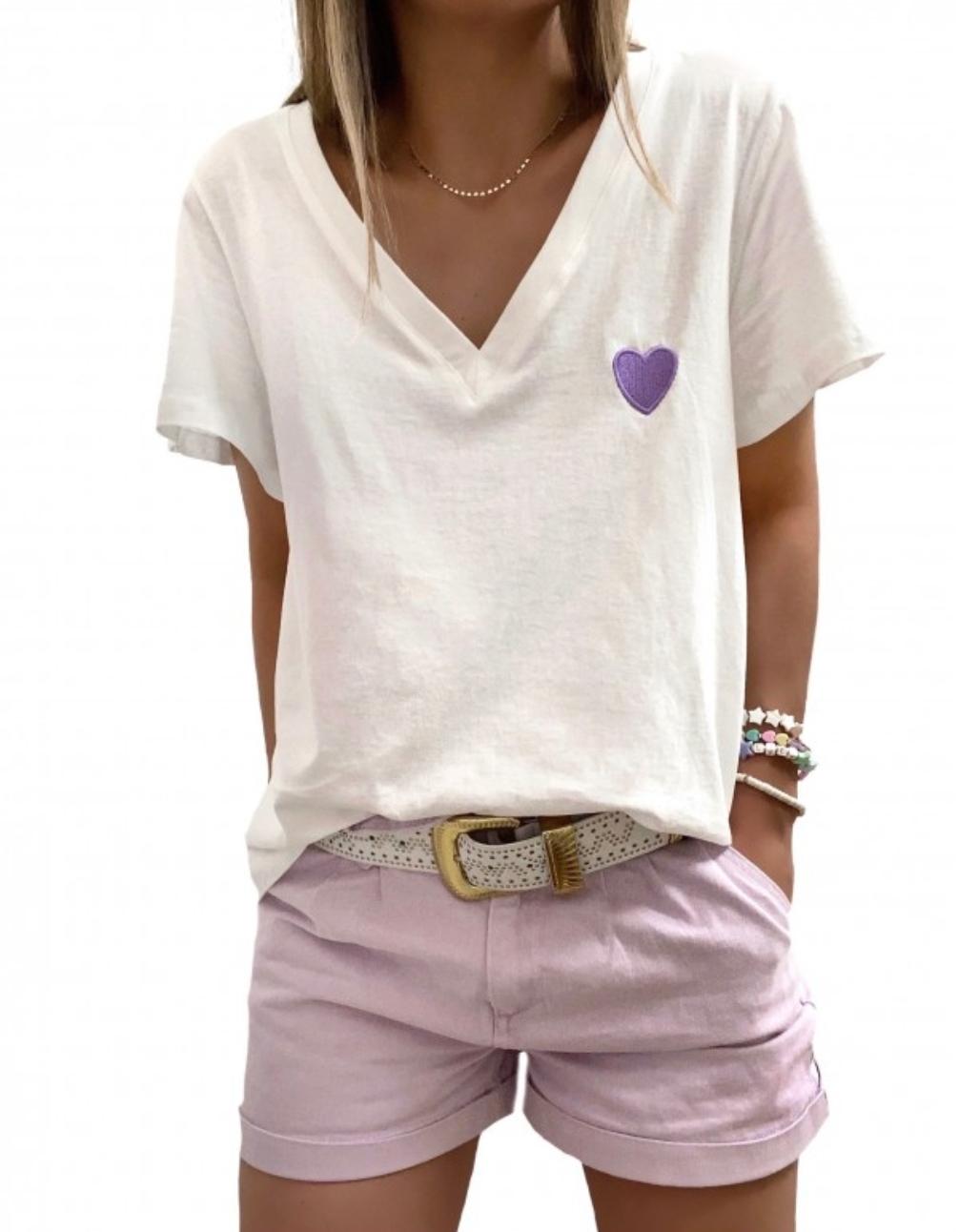 Tee-shirt cœur lilas