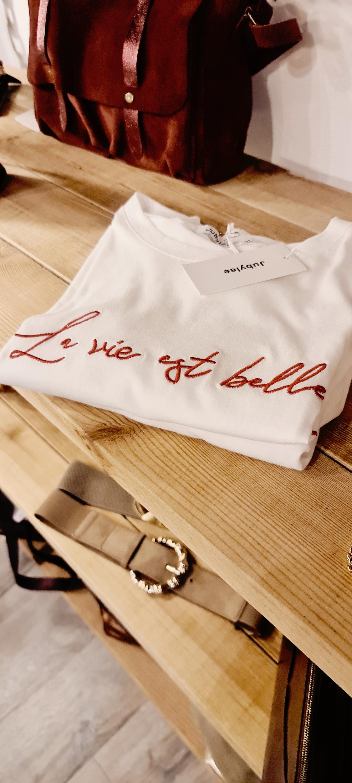 Tee-shirt la vie est belle rouge