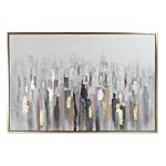 Tableau toile abstrait encadré patine dorée 156X4X106 cm