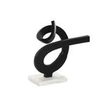 Décoration aluminium abstrait noir socle en marbre blanc 28X10X28 cm
