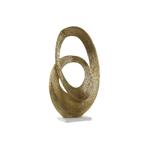 Décoration abstraite aluminium doré socle en marbre blanc 30X10X50 cm