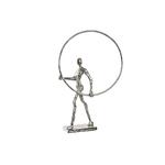Figure aluminium cercle argenté 53X34 cm