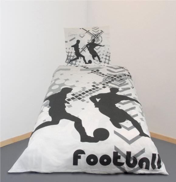 housse de couette football 140 x 200 cm parure de lit sport decokids. Black Bedroom Furniture Sets. Home Design Ideas