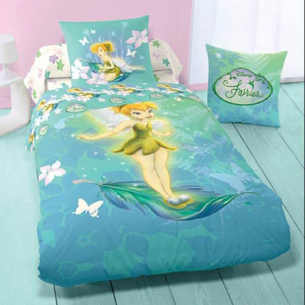 disney fairies housse de couette f e clochette parure de lit enfant en flanelle flowers. Black Bedroom Furniture Sets. Home Design Ideas
