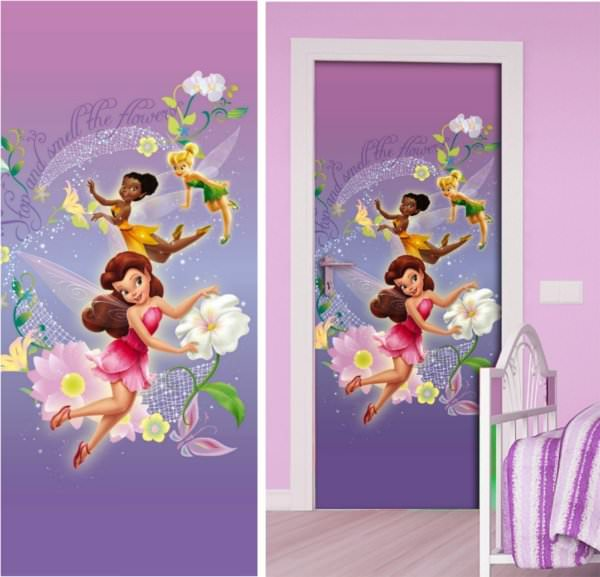 Poster geant chambre fille for Decoration porte bebe