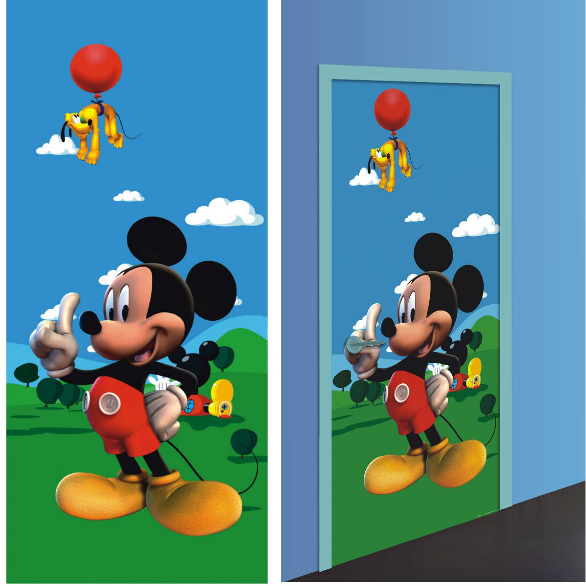 Mickey d coration murale poster de porte papier for Stickers mickey chambre