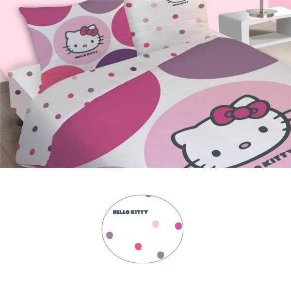 Hello kitty drap housse prune 140 x 190 cm hello for Housse de voiture hello kitty