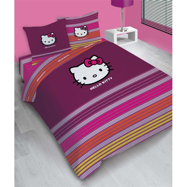 housse de couette hello kitty 240x 220cm parure de lit. Black Bedroom Furniture Sets. Home Design Ideas