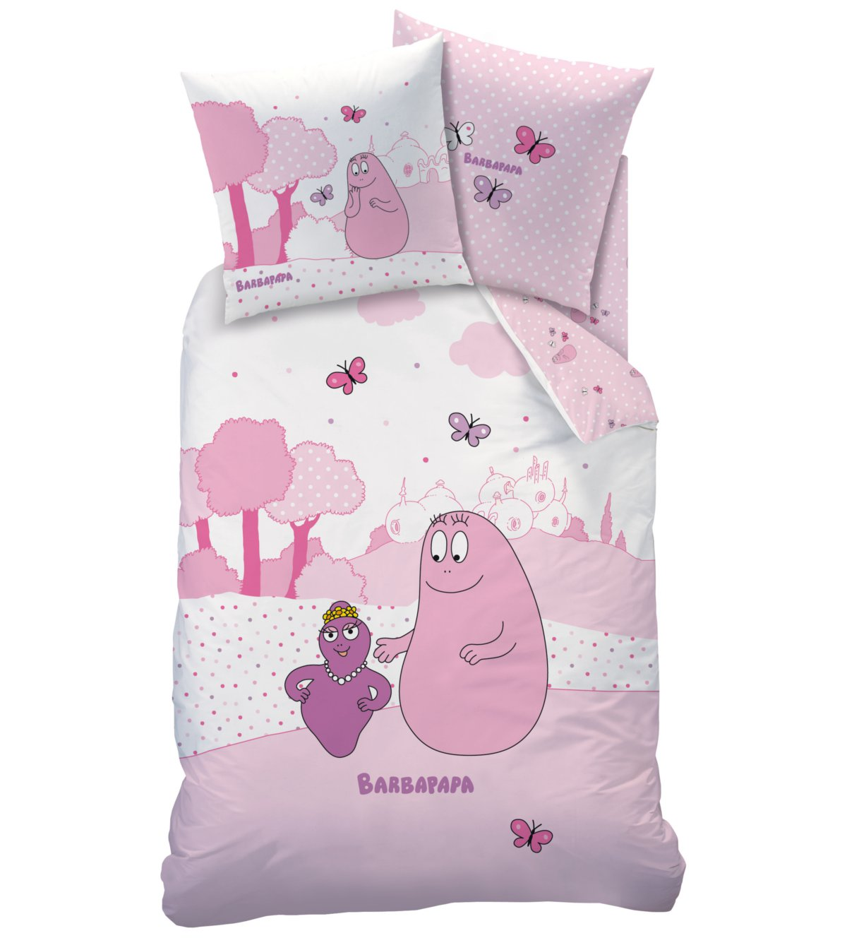 housse de couette barbapapa parure de lit 140 x 200 cm pink world barbapapa decokids. Black Bedroom Furniture Sets. Home Design Ideas