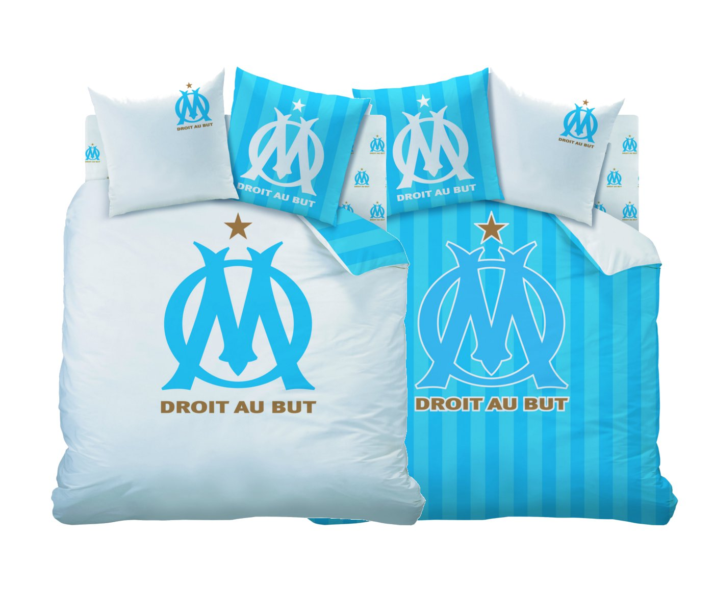 housse de couette om parure de lit r versible 200 x 200 cm logo om olympique marseille. Black Bedroom Furniture Sets. Home Design Ideas