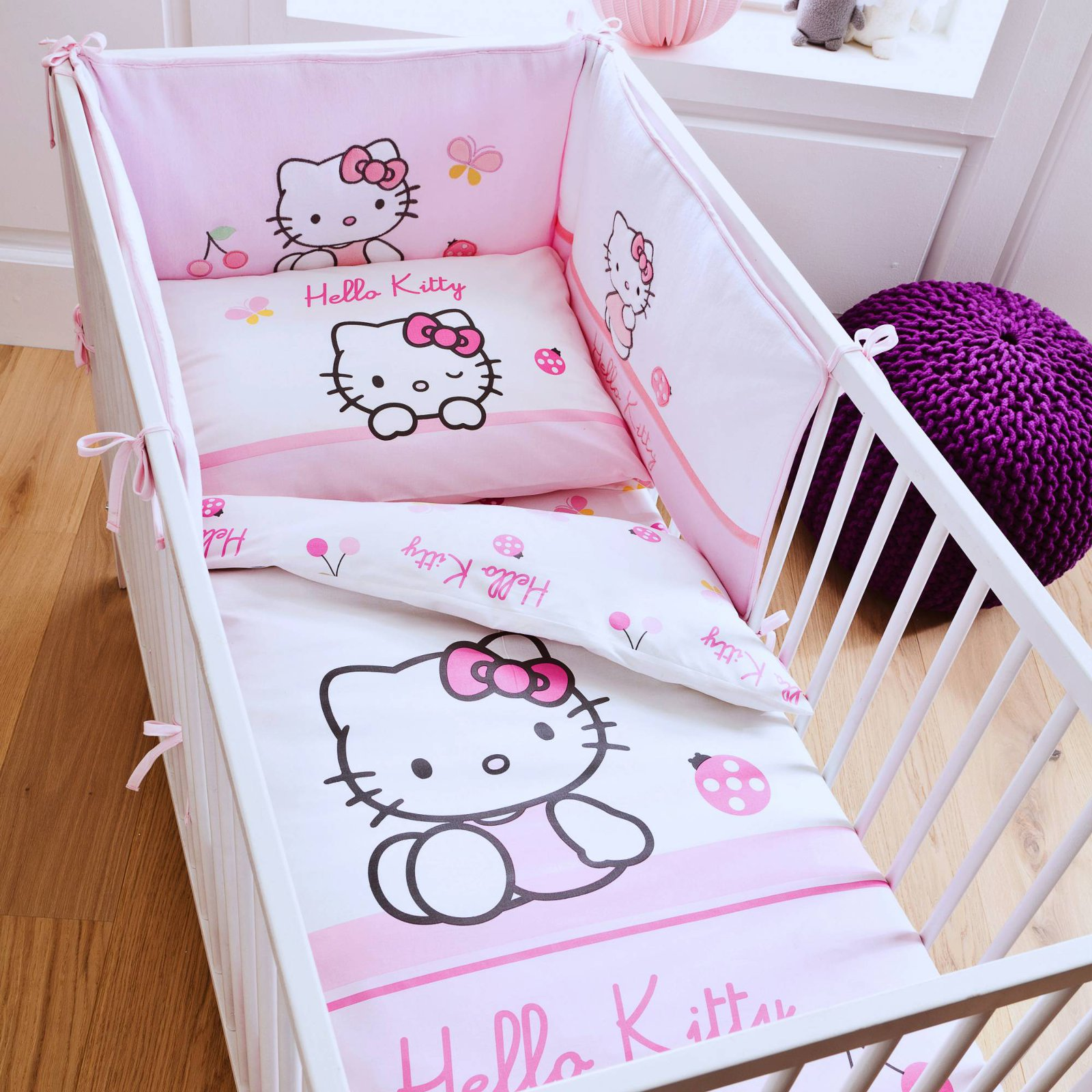 housse de couette hello kitty parure de lit 100 x 135 cm pour petit lit. Black Bedroom Furniture Sets. Home Design Ideas