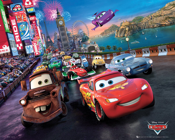 disney cars 2 poster 40 x 50 cm race disney cars decokids tous leurs h ros. Black Bedroom Furniture Sets. Home Design Ideas