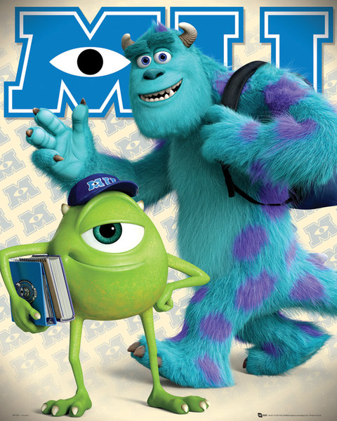 monstres cie poster 40 x 50 cm mike and sulley monstres cie decokids tous leurs. Black Bedroom Furniture Sets. Home Design Ideas