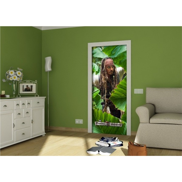 pirates des caraibes d coration murale poster de porte papier peint 202x90 cm divers. Black Bedroom Furniture Sets. Home Design Ideas
