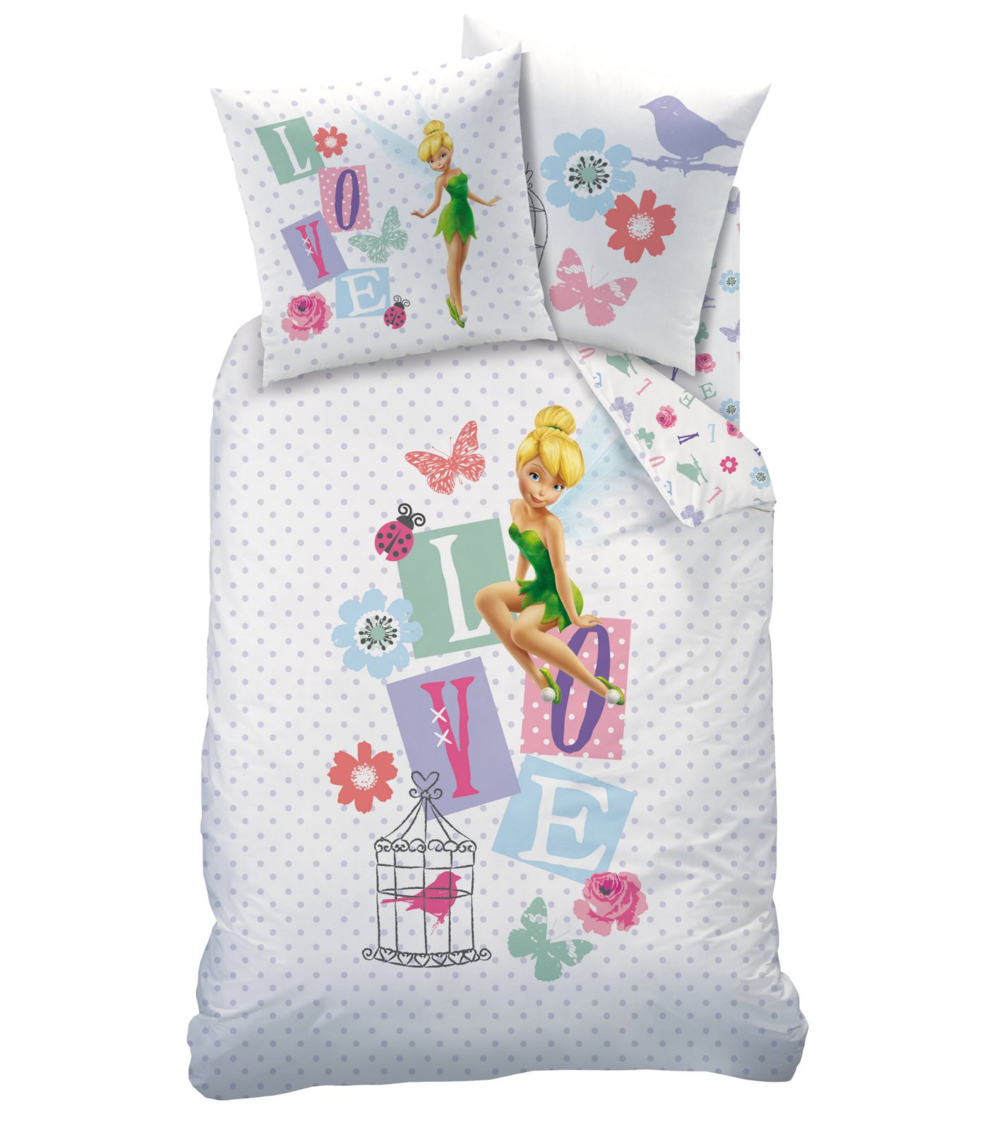 housse de couette f e clochette disney fairies parure de lit 140 x 200 cm jardin des. Black Bedroom Furniture Sets. Home Design Ideas