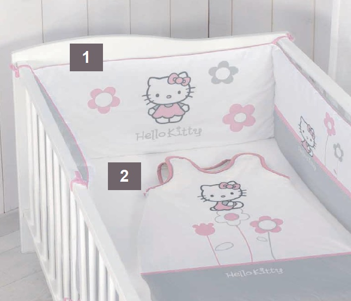 "hello kitty - tour de lit - 40 x 180 cm - ""célestine"" - hello"