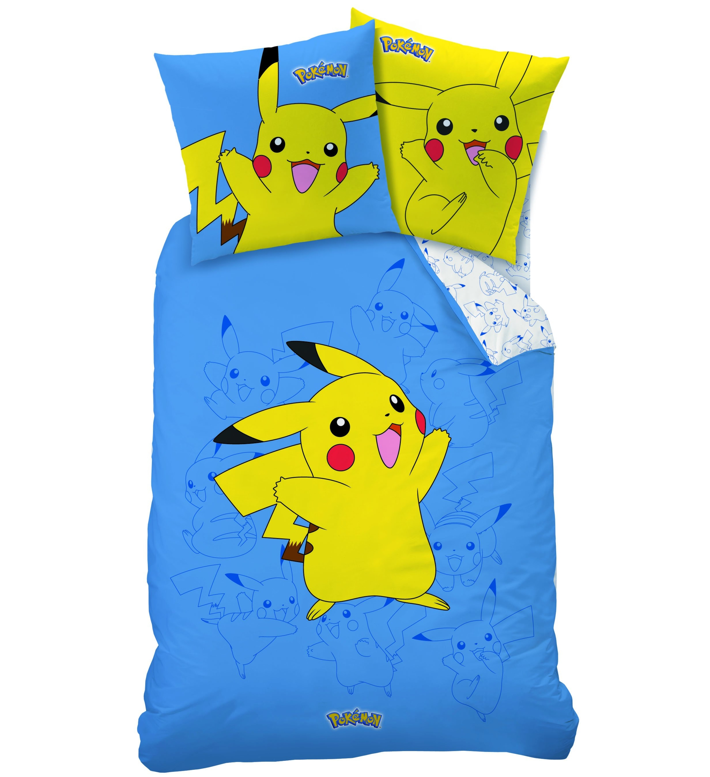 housse de couette pokemon parure de lit 140 x 200 cm pikachu decokids tous leurs h ros. Black Bedroom Furniture Sets. Home Design Ideas