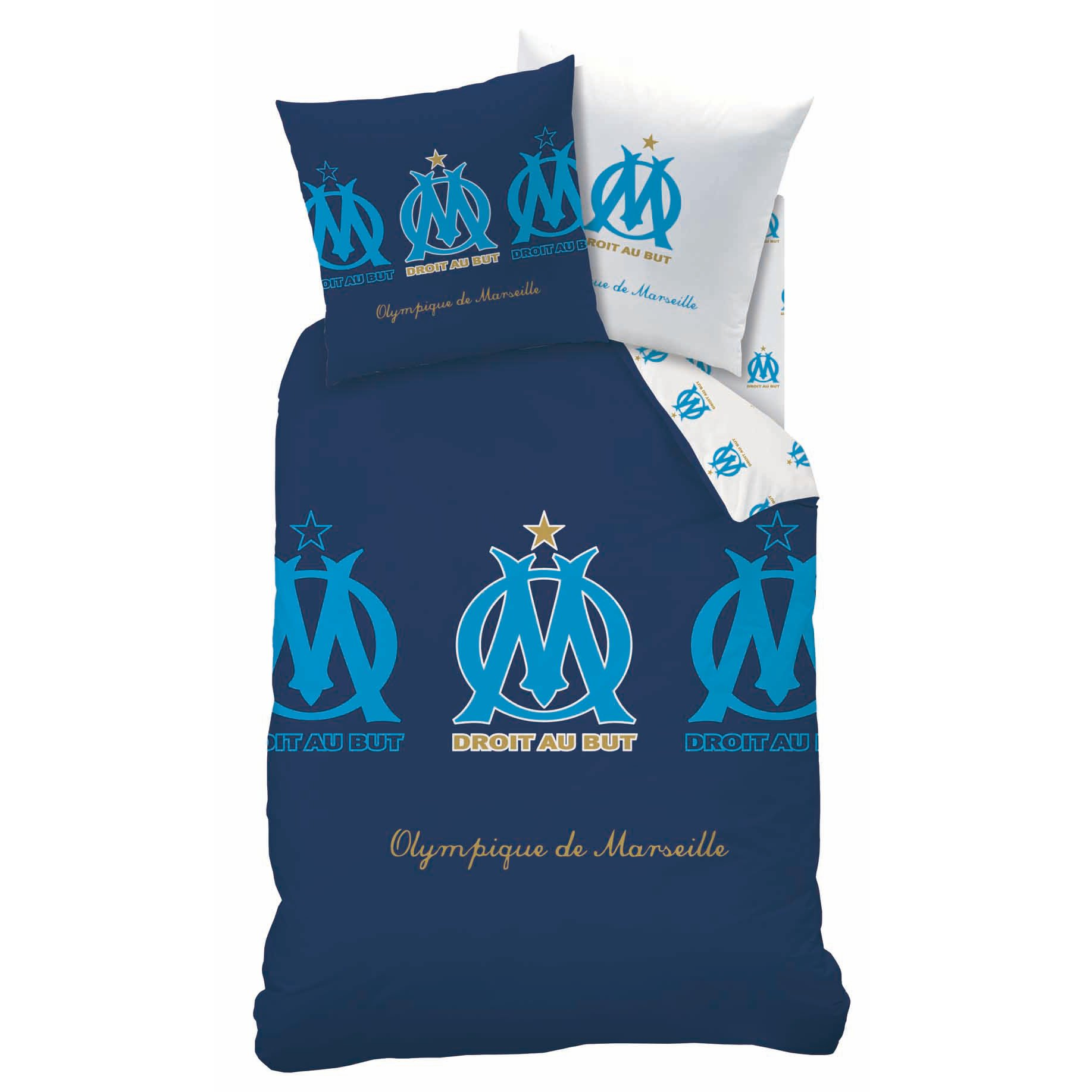 housse de couette om parure de lit 140 x 200 cm players olympique marseille decokids. Black Bedroom Furniture Sets. Home Design Ideas