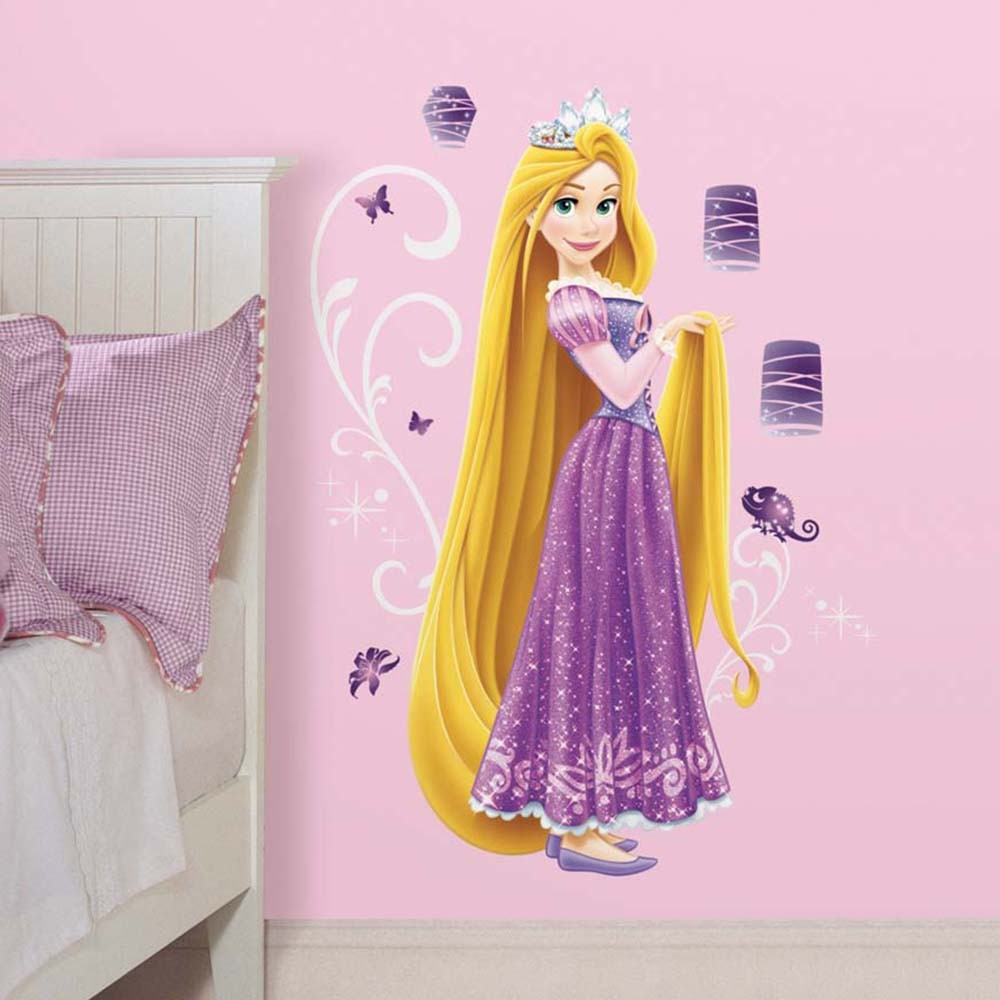 Disney princesse 1 sticker g ant 100 cm de raiponce robe scintillante 17 autocollants - Tickers chambre fille princesse ...