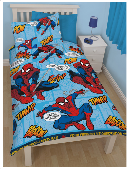 spiderman housse de couette parure de lit 1 personne 135 x 200 cm spiderman linge de. Black Bedroom Furniture Sets. Home Design Ideas