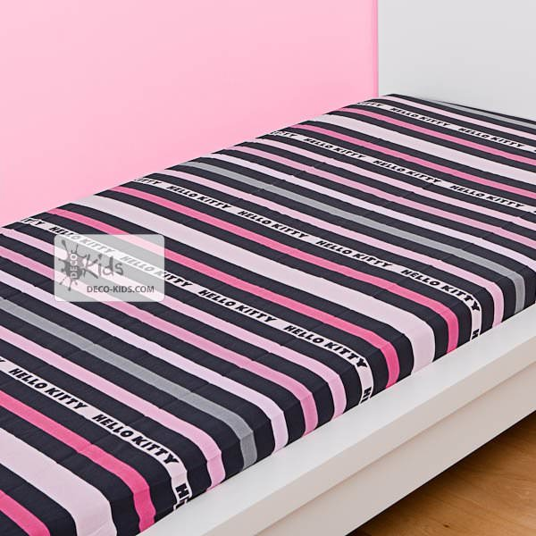 hello kitty drap housse fancy pink 140 x 190 cm hello. Black Bedroom Furniture Sets. Home Design Ideas