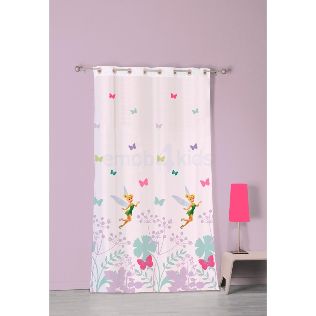 Voilage f e clochette 140 x 240 cm disney fairies decokids - Chambre bebe fee clochette ...