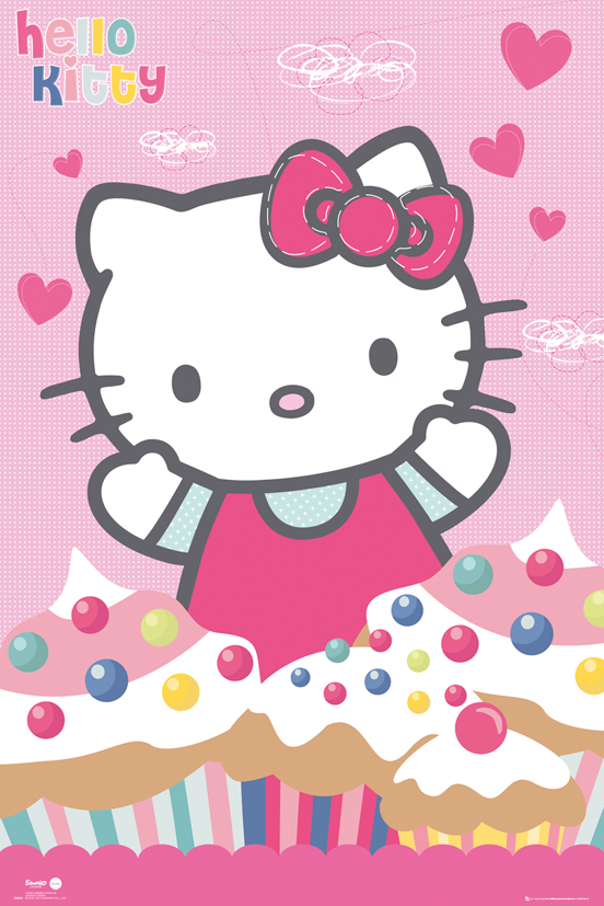 HELLO-KITTY-poster-affiche-cupcakes